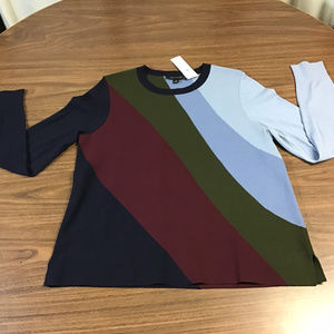 Sweater with Multi-Colored Slanted Stripes, NWT